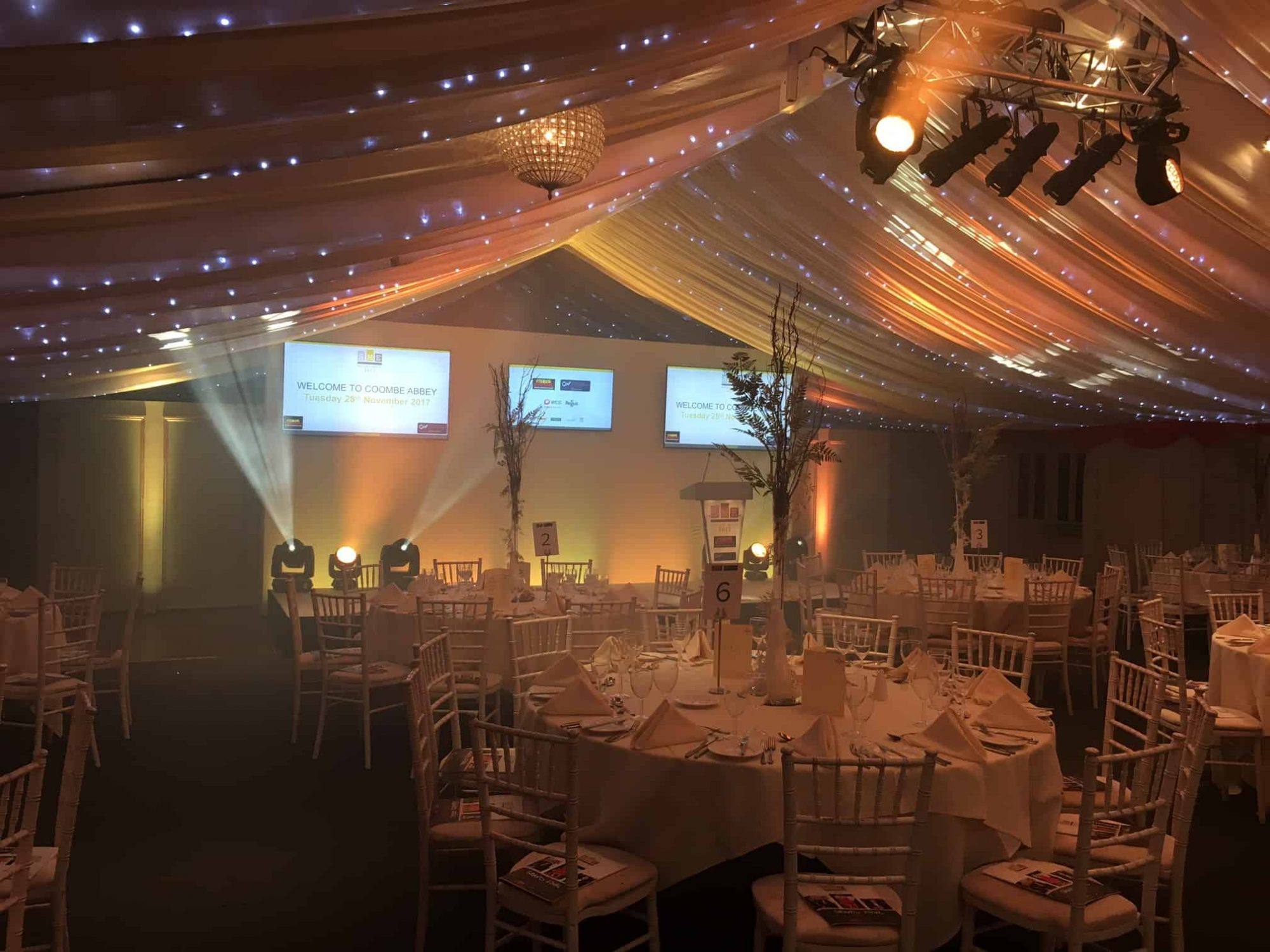 Marquee awards dinner PA and lighting hire